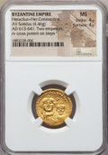 Ancients:Byzantine, Ancients: Heraclius & Heraclius Constantine (613-641). AV solidus (4.46 gm). NGC MS 4/5 - 4/5....