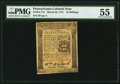 Colonial Notes:Pennsylvania, Pennsylvania March 25, 1775 16s PMG About Uncirculated 55.. ...