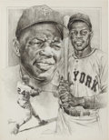 Baseball Collectibles:Others, 1980's Willie Mays Original Michael Petronella Artwork. ...