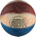 Basketball Collectibles:Balls, 1973-74 Kentucky Colonels Team Signed Mini Ball with Rare WendellLadner Signature. . ...