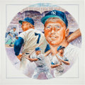 Baseball Collectibles:Others, 1990's Mickey Mantle Original Artwork by Artist Michael Petronella....