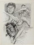 Baseball Collectibles:Others, 1980's Mickey Mantle Original Michael Petronella Artwork. ...