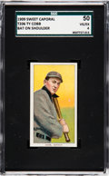 Baseball Cards:Singles (Pre-1930), 1909-11 T206 Sweet Caporal Ty Cobb (Bat On Shoulder) SGC 50 VG/EX4. ...