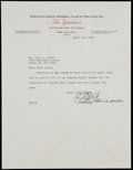 Autographs:Letters, 1944 Ed Barrow New York Yankees Signed Letter. ...