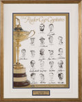 Autographs:Others, 1995 Ryder Cup Signed Captains Poster Display. ...