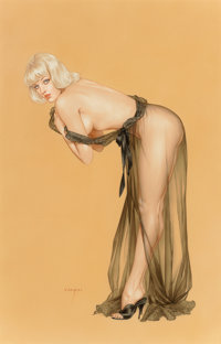 Alberto Vargas (American, 1896-1982) Please Don't Peek Until I Finish Dressing, Playboy interior illustration</...