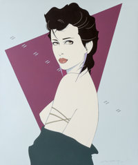 Patrick Nagel (American, 1945-1984) Seductive Female in Profile Acrylic on canvas 48 x 40 in