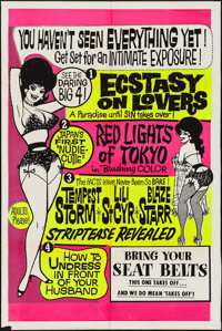 """Ecstasy on Lovers Island Triple Feature (1960s). Silk Screen Day-Glo One Sheet (28"""" X 42""""). Exploitation"""