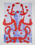 Works on Paper, Asher Penn (b. 1982). Kate Moss Rorschach (Red on Blue), 2013. Acrylic paint on matte print paper. 41 x 28 inches (104.1...