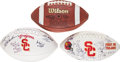 Football Collectibles:Balls, 2004-07 USC Trojans Football Lot of 3, With Team Signed Ball from 2004 National Championship Season....