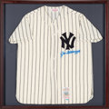 Baseball Collectibles:Uniforms, 1990's Joe DiMaggio Signed New York Yankees Jersey Display. ...
