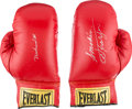 Boxing Collectibles:Autographs, 1990's Muhammad Ali and Joe Frazier Signed Boxing Gloves....