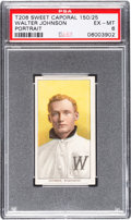 Baseball Cards:Singles (Pre-1930), 1909-11 T206 Sweet Caporal 150/25 Walter Johnson (Portrait) PSAEX-MT 6. ...