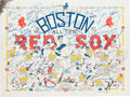 Baseball Collectibles:Others, 1990 Boston Red Sox All-Time Greats Multi-Signed Print. ...