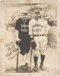 1927-28 Babe Ruth & Lou Gehrig Dual-Signed Barnstorming Photograph, PSA/DNA NM-MT+ 8.5