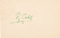 Baseball Collectibles:Others, Circa 1950 Ty Cobb Signed Government Postcard....