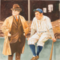 Baseball Collectibles:Others, 2000's Babe Ruth & Ed Barrow Original Artwork by Dick Perez....