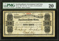 Canadian Currency, St. John's, NF- Newfoundland Government Cash Note 50¢ 1901 Ch. # NF-3a. . ...