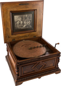 "Polyphon 15 1/2"" Style 45 Disc Music Box in Ornate Walnut Case, with Inlaid Lid"