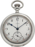 Timepieces:Pocket (post 1900), Agassiz Sterling Center Seconds Chronograph. ...