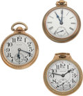 Timepieces:Pocket (post 1900), Waltham 21 Jewel Crescent St., Elgin 21 Jewel B.W. Raymond,Hamilton/Swiss 17 Jewel. ... (Total: 3 Items)
