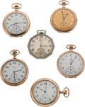 Timepieces:Pocket (post 1900), Six Running Watches, 23, 17 & 7 Jewel Models. ... (Total: 6Items)