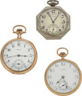 Timepieces:Pocket (post 1900), Two E. Howard & One Waltham 14k Gold Open Face Pocket Watches Runners. ... (Total: 3 Items)