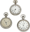 Timepieces:Pocket (pre 1900) , Manhattan Stop Watch, Columbus King Two Tone & Cheshire Model2. ... (Total: 3 Items)