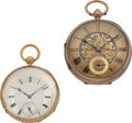 Timepieces:Pocket (post 1900), London 9k Gold Lever Fusee & Swiss 18k Gold Key Wind PocketWatches. ... (Total: 2 Items)