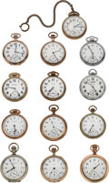 Timepieces:Pocket (post 1900), Thirteen Open Face Pocket Watches 7 to 17 Jewels All Are Runners.... (Total: 13 Items)