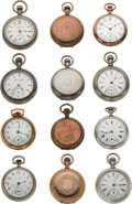 Timepieces:Pocket (post 1900), Twelve American 18 Size Pocket Watches. ... (Total: 12 Items)