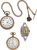 Timepieces:Other , Hamilton 992 & Elgin Pocket Watches & Mickey MouseWristwatch. ... (Total: 3 Items)