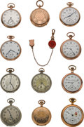 Timepieces:Pocket (post 1900), Eleven Miscellaneous Pocket Watches Runners & One Carnelian Watch Fob. ... (Total: 12 Items)