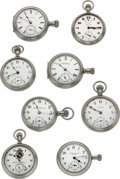 Timepieces:Pocket (post 1900), Eight Various Display Case Pocket Watches All Are Runners. ...(Total: 8 Items)