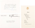 Political:Small Paper (1896-present), Harry S Truman: Two Autographed Invitations and Franked Envelope....