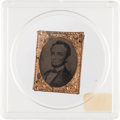 "Political:Ferrotypes / Photo Badges (pre-1896), Abraham Lincoln: Choice 1864 Lincoln ""Gem"" Ferrotype...."