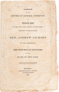 Political:Small Paper (pre-1896), Andrew Jackson: Pamphlet Supporting Jackson Dated 1828....