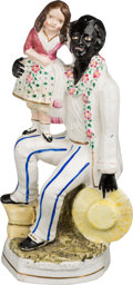 Antiques:Black Americana, Uncle Tom's Cabin: Staffordshire Figure of Eva and Uncle Tom....