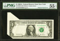 Error Notes:Foldovers, Fr. 1930-B $1 2003A Federal Reserve Note. PMG About Uncirculated 55EPQ.. ...