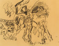 Post-War & Contemporary:Abstract Expressionism, Willem de Kooning (1904-1997). Untitled (Figures in aLandscape), 1968. Charcoal on tracing paper laid on paper.18-3/4 ...