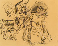 Willem de Kooning (1904-1997) Untitled (Figures in a Landscape), 1968 Charcoal on tracing paper laid