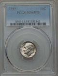 Roosevelt Dimes, 1949 10C MS65 Full Bands PCGS. PCGS Population: (36/75). NGC Census: (17/57). Mintage 30,940,000. ...