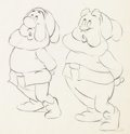 Animation Art:Production Drawing, Snow White and the Seven Dwarfs Two Dwarfs Animation Drawing(Walt Disney, 1937)....