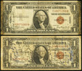 Short Snorters Fr. 2300 $1 1935A Hawaii Silver Certificates. Two Examples. Fine