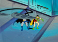 Animation Art:Production Cel, Super Friends Batman and Robin Production Cel and MasterBackground (Hanna-Barbera, c. 1985)....