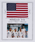 Explorers:Space Exploration, Apollo 7 Flown American Flag Originally from the PersonalCollection of Mission Lunar Module Pilot Walt Cunningham, withSigne...