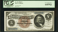 Fr. 263 $5 1886 Silver Certificate PCGS Very Choice New 64PPQ