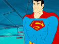 Animation Art:Production Cel, Super Friends Superman Production Cel and Master Background(Hanna-Barbera, c. 1985)....