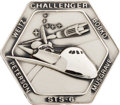 Explorers:Space Exploration, Space Shuttle Challenger (STS-6) Flown Silver RobbinsMedallion, Serial Number 47F, with Notarized Presentation Le...