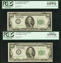 Small Size:Federal Reserve Notes, Fr. 2152-I/Fr. 2153-I $100 1934 Federal Reserve Note/1934A Mule Federal Reserve Note. Changeover Pair. PCGS Very Choice New 64... (Total: 2 notes)